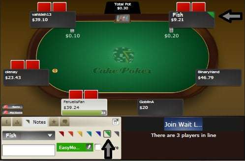 A Cake Poker screen shot showing a poker table with a green label added to an opponent