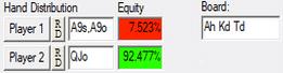 pokerstove equity run a9 vs qjo akt board