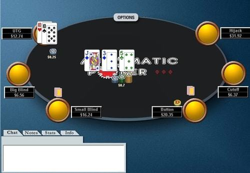 Poker table screenshot with flop and positions shown on a 6-max table