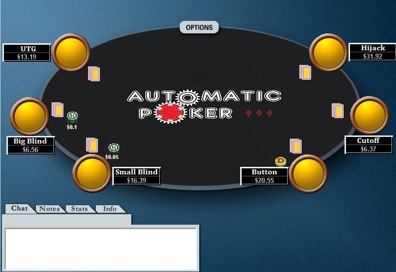 Poker table screenshot with positions shown on a 6-max table