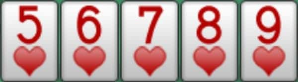 A screenshot showing a straight flush five to nine, all hearts