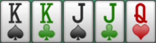 A screenshot showing two-pair Kings and Jacks