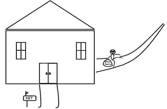 An illustration showing a thief sneaking away from a house with a bag of money called fold equity.