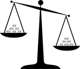 A scales of justice illustration showing that more +EV actions than an opponent leads to profit.