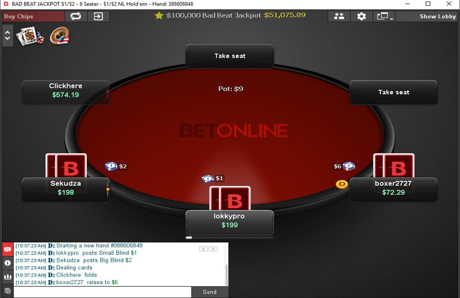 BetOnline Cash Game Table