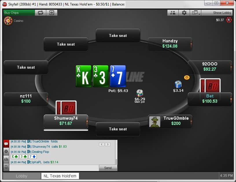 Betonline Poker Cash Game Table