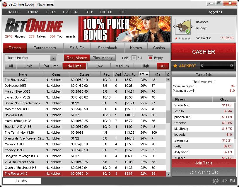 Betonline Poker Client