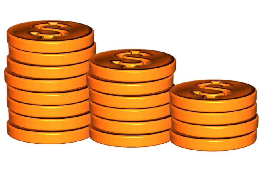 Three Different Size Stacks of Coins