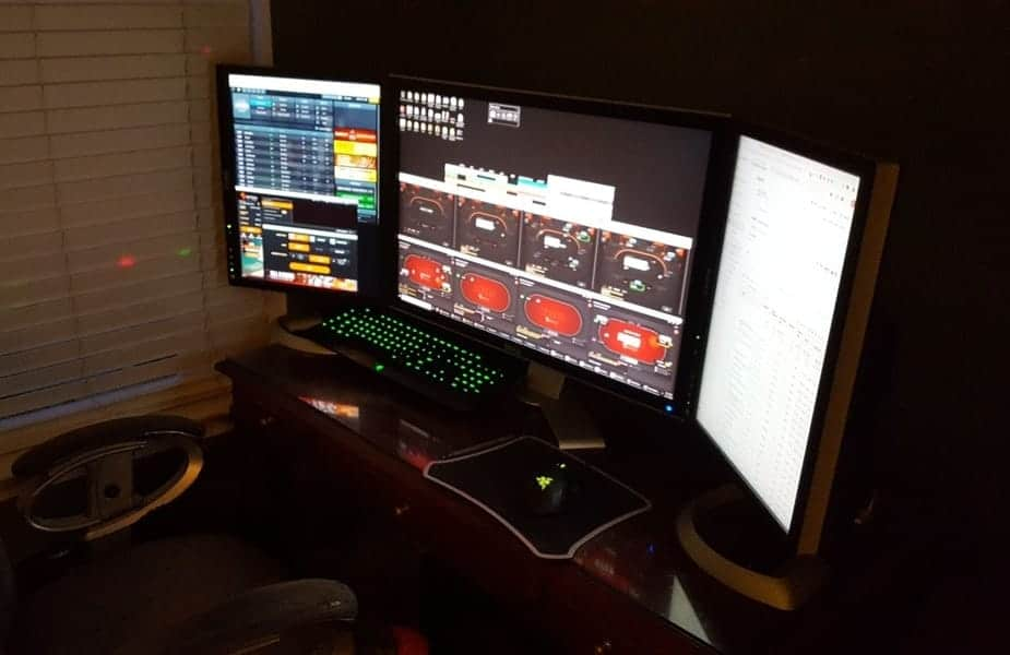 Three Monitor Poker Setup