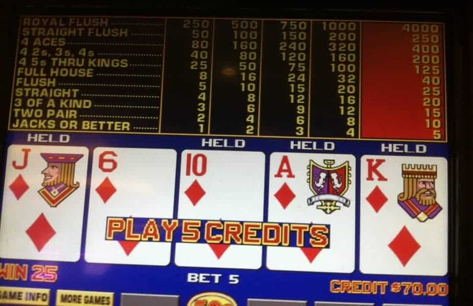 Video Poker Screen
