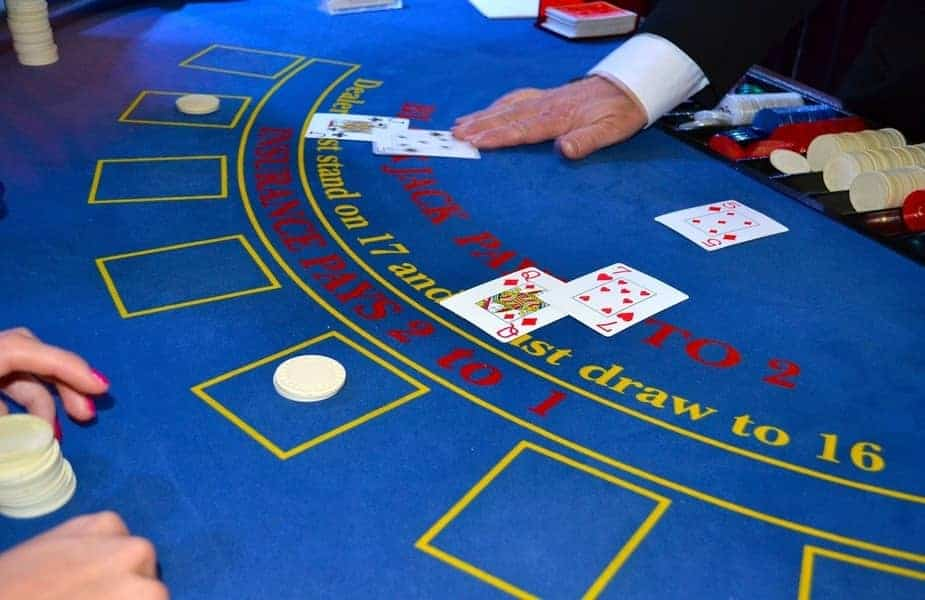 Blue Blackjack Table